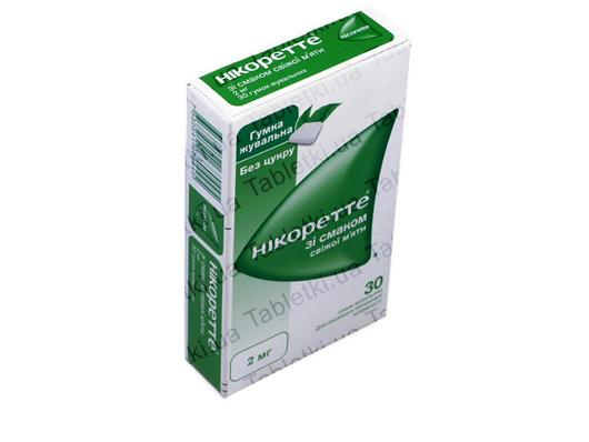 Никоретте со вкусом свежей мяты резинка жев. лечеб. по 2 мг №30 (15х2)