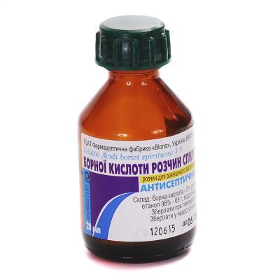 Борная кислота раствор д/наруж. прим., спирт. 3 % по 20 мл во флак.