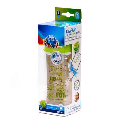 CANPOL EASY START бутылочка д/кормления стекл. антиколиковая с рождения по 240 мл 79/002