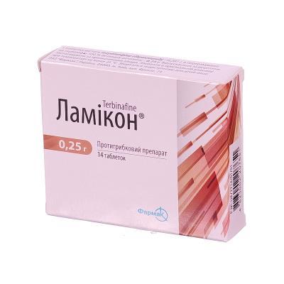 Ламикон таблетки по 0.25 г №14 (7х2)