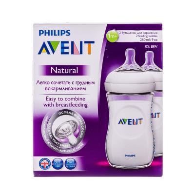 AVENT NATURAL бутылочка д/кормления пластик. с соской ортодонтич. от 3 месяцев по 260 мл №2