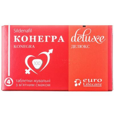 Конегра делюкс таблетки жев. по 100 мг №4 в блис.