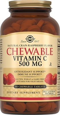 Solgar Витамин С 500 мг, 90 таблеток с малиновым вкусом