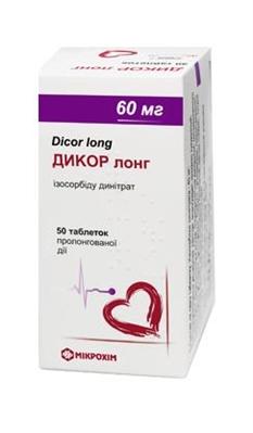 Дикор лонг таблетки прол./д. по 60 мг №50 в бан.