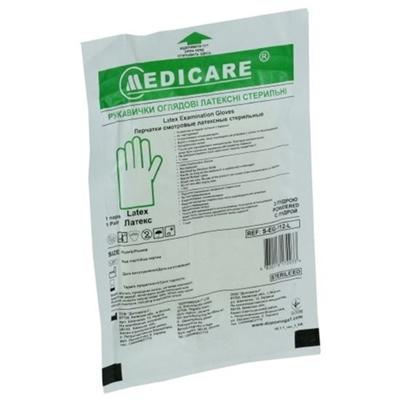 Перчатки смотровые Medicare латексные с пудрой стерильные, размер L, пара
