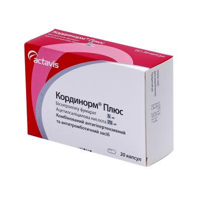 Кординорм плюс капсулы по 5 мг/75 мг №30 (10х3)