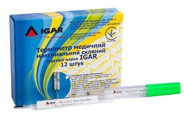 Термометр медицинский IGAR максимальный ртутный, стеклянный, 1 штука