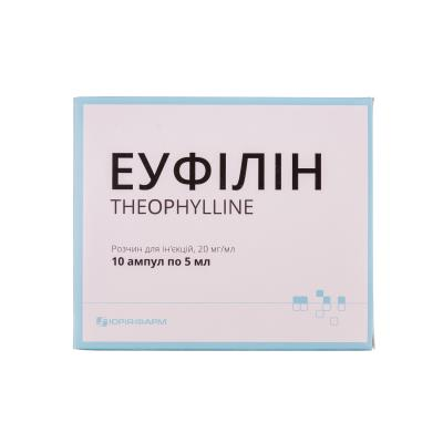 Эуфиллин раствор д/ин. 20 мг/мл по 5 мл №10 (5х2) в амп.
