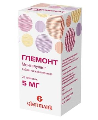 Глемонт таблетки жевательные таблетки жев. по 5 мг №30 в конт.