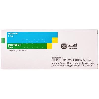 Мосид МТ таблетки по 5 мг №30 (10х3) в стрип.