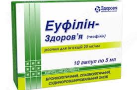 Эуфиллин-Здоровье раствор д/ин. 2 % по 5 мл №10 в амп.