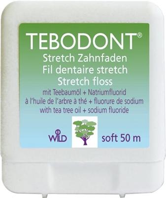 Зубная нить Tebodont с маслом чайного дерева (Melaleuca Alternifolia) и фторидом натрия, 50 м