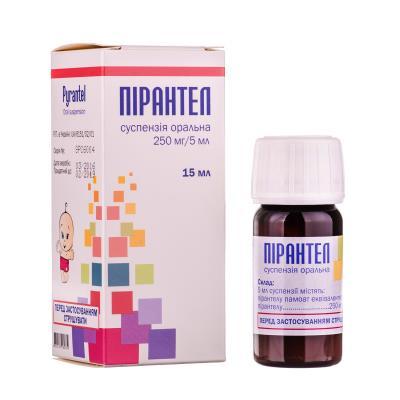Пирантел суспензия ор. 250 мг/5 мл по 15 мл во флак.