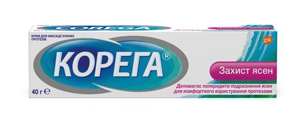 Крем Корега (Corega) для фиксации зубных протезов Защита десен, 40 г