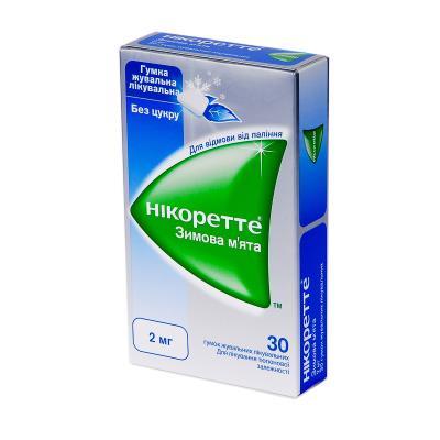 Никоретте зимняя мята резинка жев. лечеб. по 2 мг №30 (15х2)