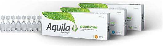 АКВИЛА капли глаз., увлаж. гиалурон 0.1 % по 0.4 мл №10 в конт.