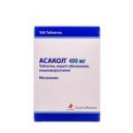 Асакол таблетки, п/о, киш./раств. по 400 мг №100 (10х10)