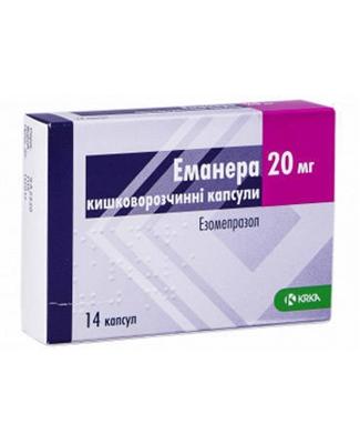 Эманера капсулы киш./раств. по 20 мг №14 (7х2)