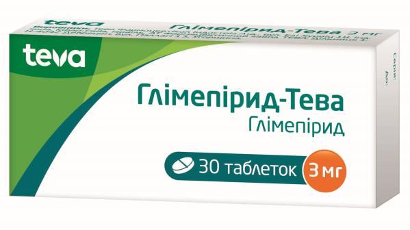 Глимепирид-Тева таблетки по 3 мг №30 (10х3)