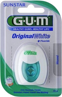 Зубная нить GUM Original White Floss, вощеная с фторидом, 30 метров