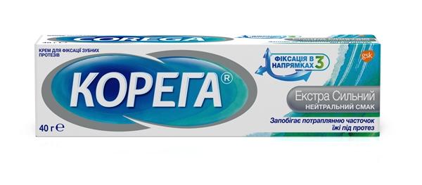Крем Корега (Corega) для фиксации зубных протезов Экстра сильный Нейтральный вкус, 40 г