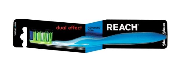 Зубная щетка Reach Dual Effect, средней жесткости, 1 штука
